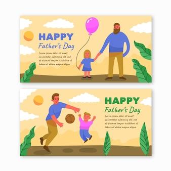 Modelo de banners de dia dos pais mão desenhada