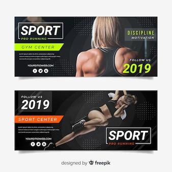 Modelo de banners de esporte com foto