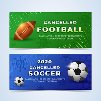 Modelo de banners de eventos esportivos cancelados
