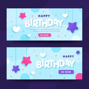 Modelo de banners de feliz aniversário