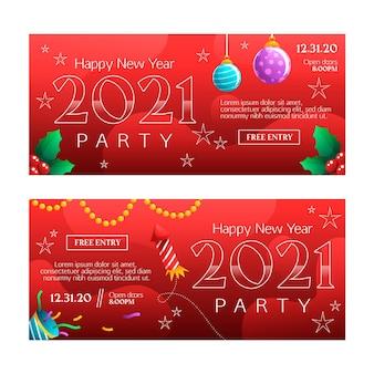Modelo de banners de festa de ano novo 2021 de design plano