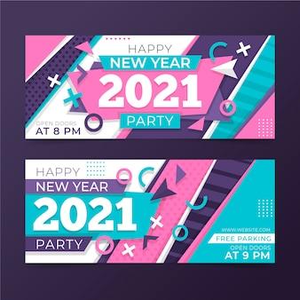 Modelo de banners de festa de ano novo 2021