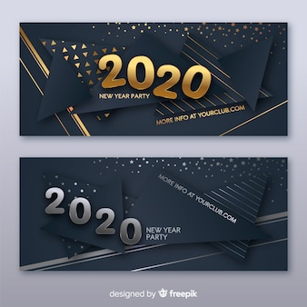 Modelo de banners de festa de ano novo de design plano 2020