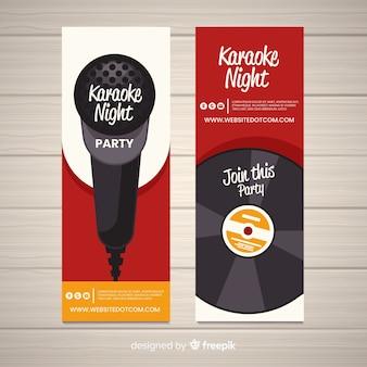 Modelo de banners de festa de karaoke plana