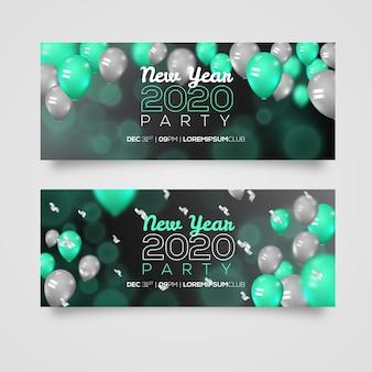 Modelo de banners de festa realista ano novo 2020