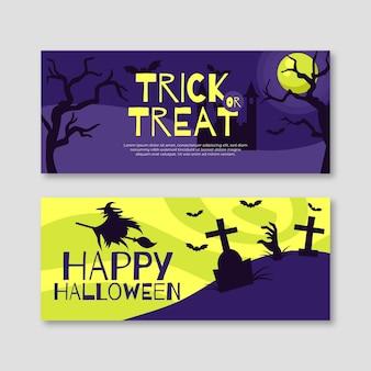 Modelo de banners de halloween de design plano