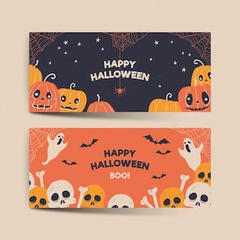 Modelo de banners de halloween desenhado à mão