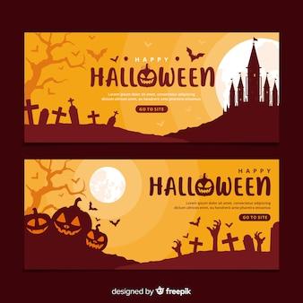 Modelo de banners de halloween design plano