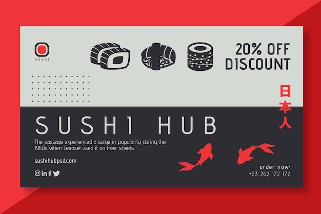 Modelo de banners de hub de sushi