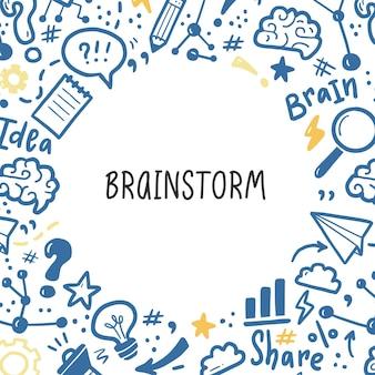 Modelo de banners de mão desenhada com brainstorm, ideia, elementos cerebrais