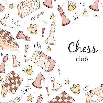 Modelo de banners de mão desenhada com elementos do jogo de xadrez dos desenhos animados. estilo de desenho do doodle.
