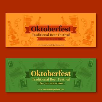Modelo de banners de mão desenhada oktoberfest