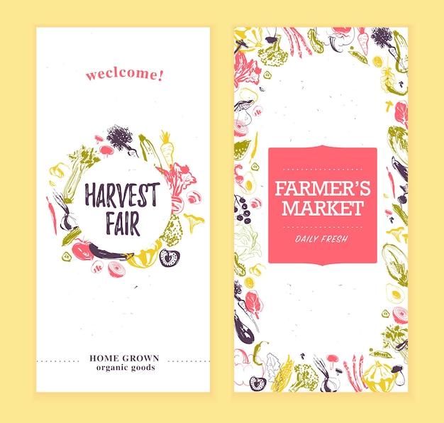 Modelo de banners de mercado de fazendeiros de vetor com rótulo redondo de amp de moldura esboço desenhado à mão vegetais crus bom para mercado de fazendeiros feira de alimentos