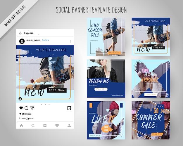 Modelo de banners de mídia social com estilo de pincel