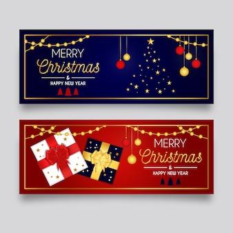 Modelo de banners de natal de design plano