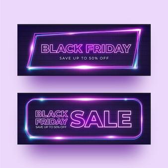 Modelo de banners de néon preto sexta-feira