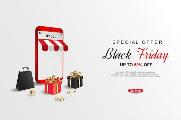 Modelo de banners de oferta especial de sexta-feira negra com telefone celular.