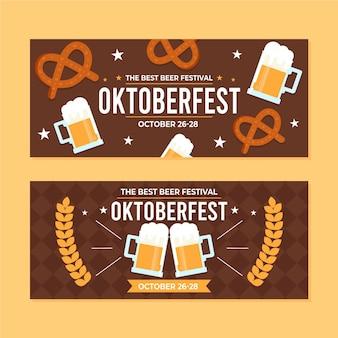 Modelo de banners de oktoberfest de design plano