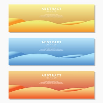 Modelo de banners de onda abstrata