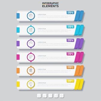Modelo de banners de opções de número 6 limpo design colorido.