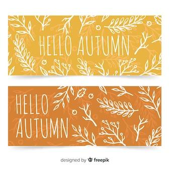 Modelo de banners de outono de mão desenhada
