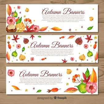 Modelo de banners de outono estilo aquarela