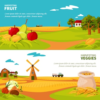 Modelo de banners de paisagem de fazenda