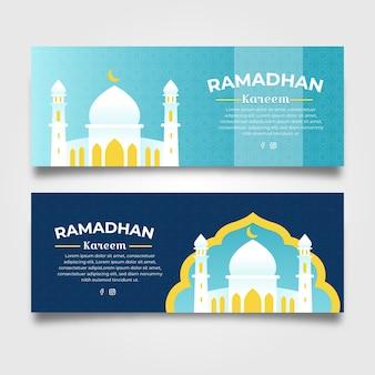 Modelo de banners de ramadan design plano