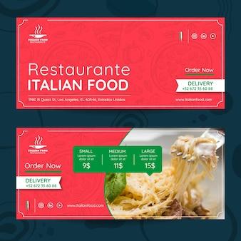 Modelo de banners de restaurante de comida italiana
