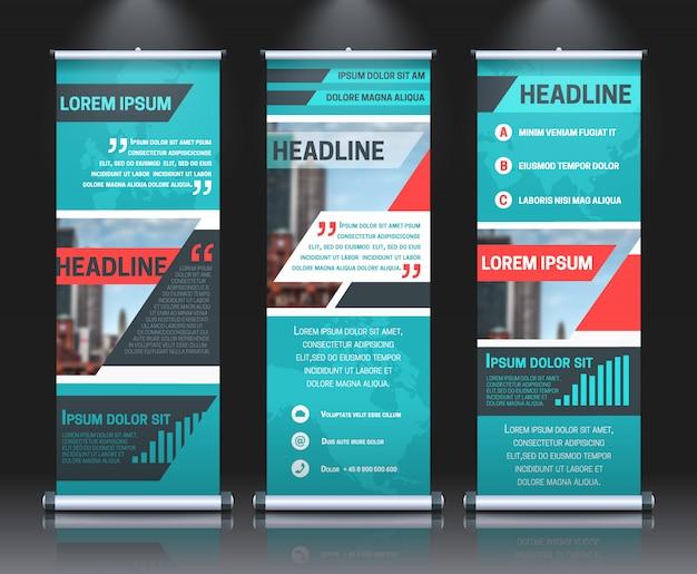 Modelo de banners de rollup com modelo de design de apresentação de negócios