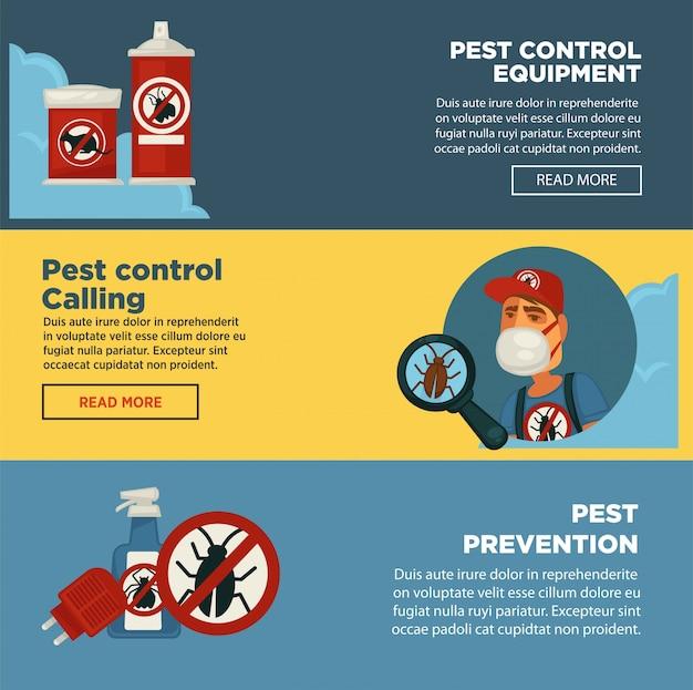 Modelo de banners de serviço de controle de pragas de extermínio de sanitários domésticos exterminam equipamentos de desinfecção.