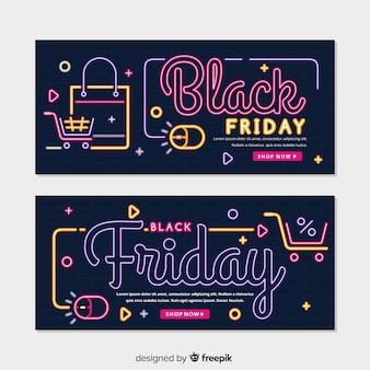 Modelo de banners de sexta-feira negra de néon