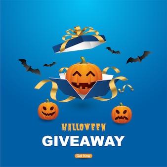 Modelo de banners de sorteio de halloween feliz com abóboras assustadoras.