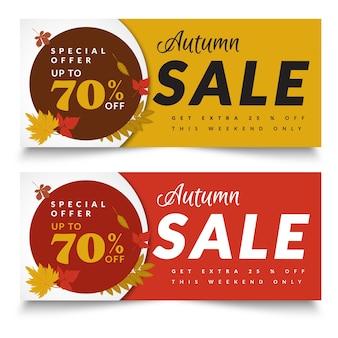 Modelo de banners de venda criativa outono