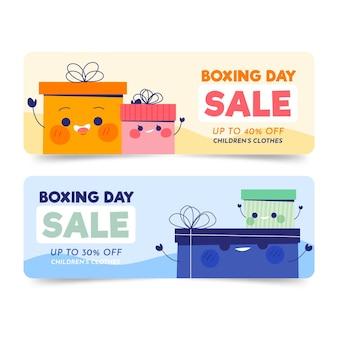 Modelo de banners de venda de boxe desenhado à mão