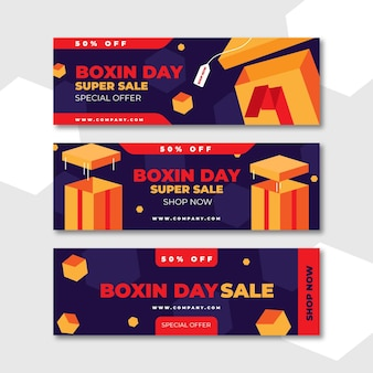 Modelo de banners de venda de boxing day em design plano