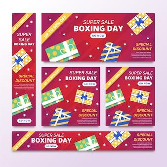 Modelo de banners de venda de dia de boxe de design plano