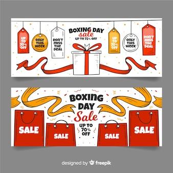 Modelo de banners de venda de dia de boxe de mão desenhada