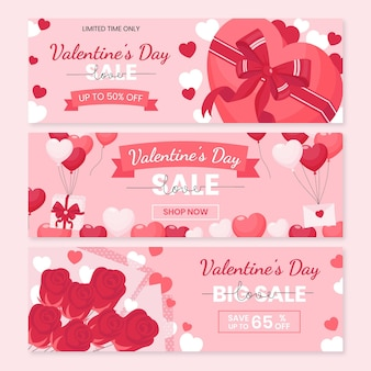 Modelo de banners de venda de dia dos namorados com design plano