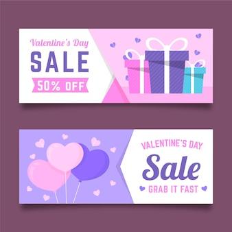 Modelo de banners de venda de dia dos namorados design plano
