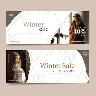 Modelo de banners de venda de inverno desenhado à mão