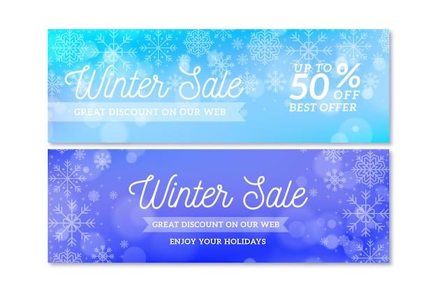 Modelo de banners de venda de inverno desfocado