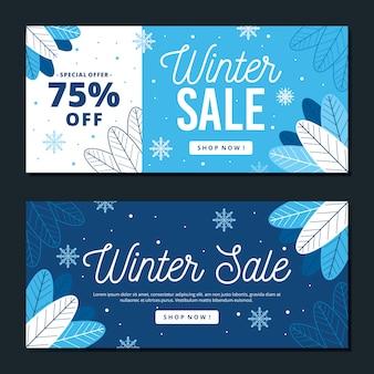 Modelo de banners de venda de inverno design plano
