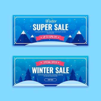 Modelo de banners de venda de inverno em design plano