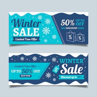 Modelo de banners de venda de inverno mão desenhada