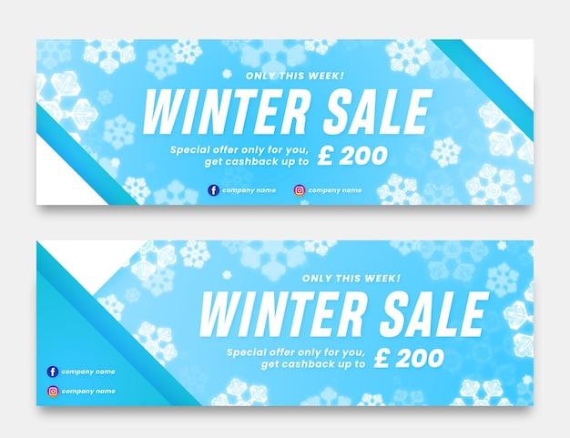 Modelo de banners de venda de inverno realistas