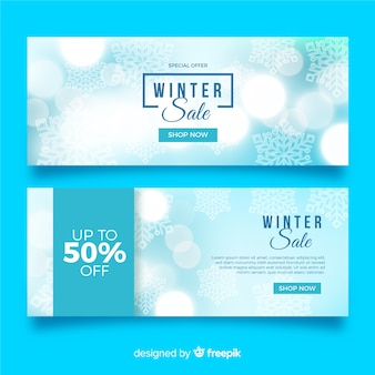 Modelo de banners de venda de inverno turva