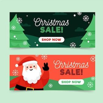 Modelo de banners de venda de natal desenhado à mão