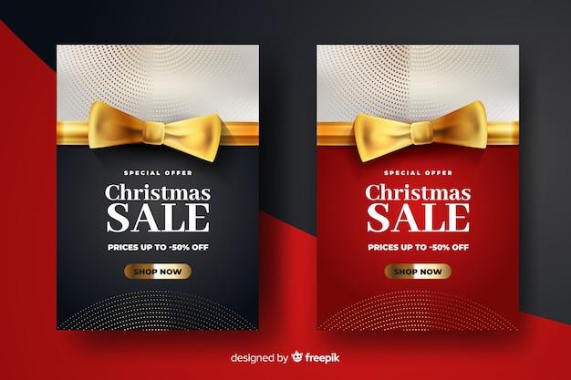 Modelo de banners de venda de natal dourado