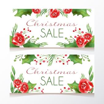 Modelo de banners de venda de natal em aquarela